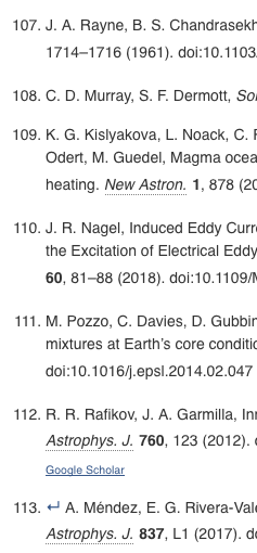 Science citation list screenshot showing end of reference list for 113 references