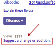 Partial screenshot showing location of link to suggest a change or addition to an ASCL entry