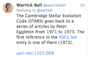 Screenshot of tweet about the STARS code and its origins in the early 1970s